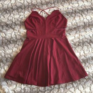 Scalloped Cross Back Skater Dress, Color: Burgundy